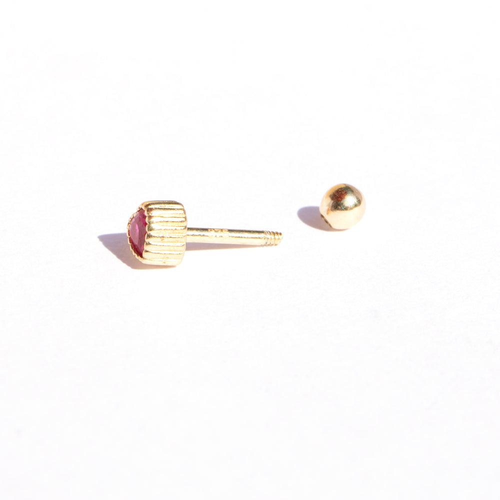 gold cartilage stud earring - seol-gold