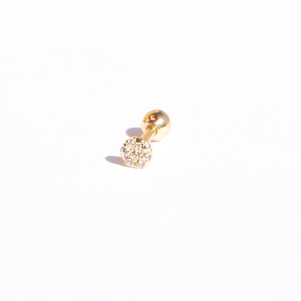 9ct gold pave cz barbell stud