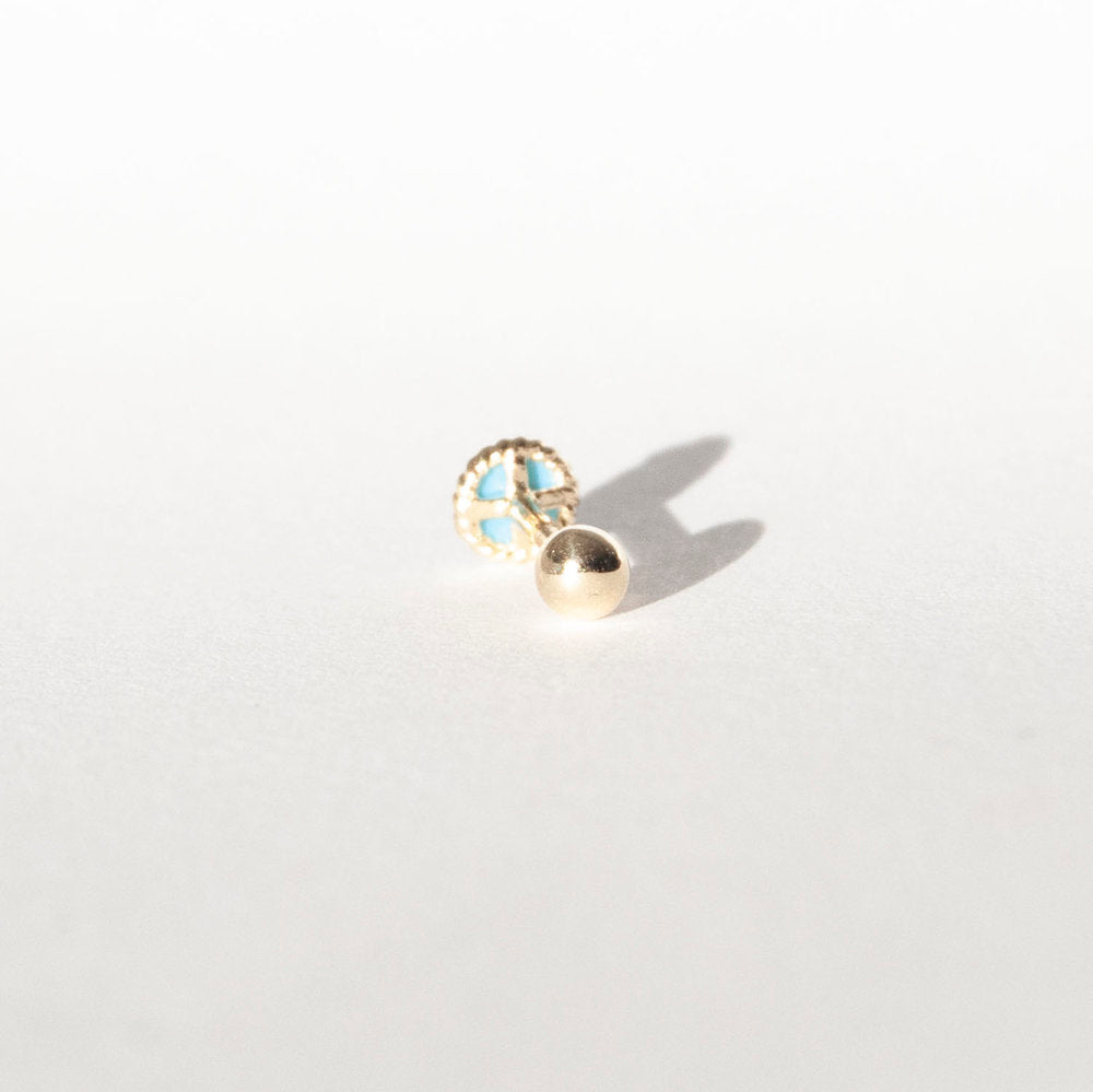 9ct Gold Turquoise Bezel Stud - seol-gold