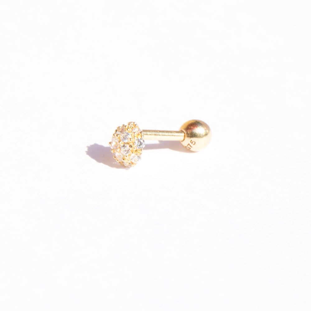 9ct gold pave cz dome barbell stud - seol-gold