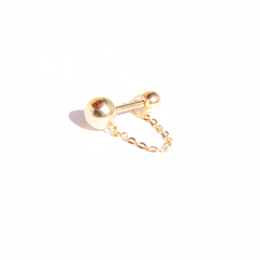 9ct gold ball and chain stud - seol-gold