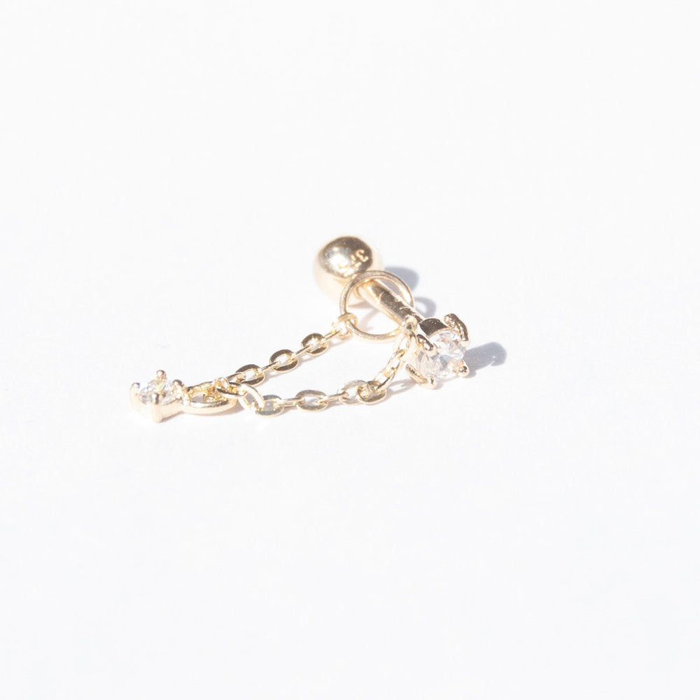 9ct Gold CZ Chain Stud