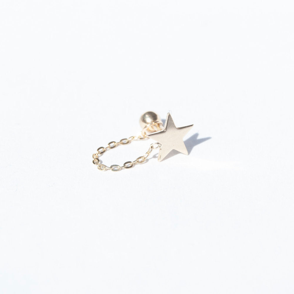 9ct Gold Star and Chain Stud - seol-gold