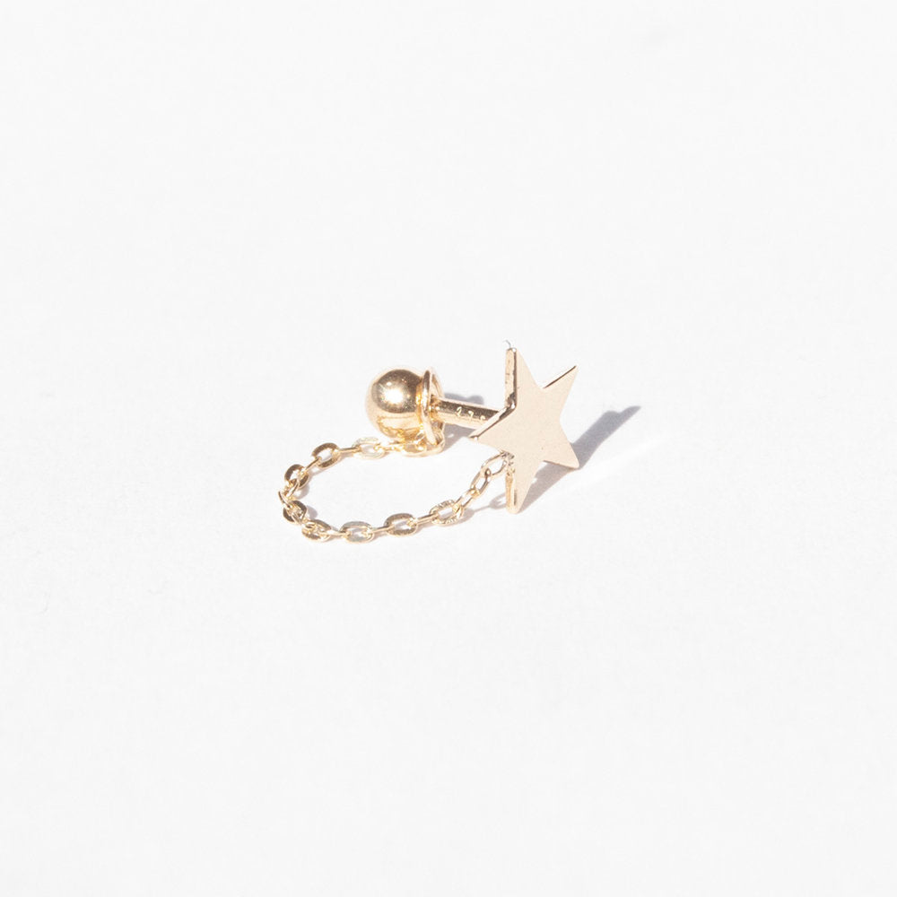 9ct Gold Star and Chain Stud