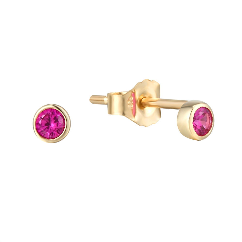 9ct Gold Ruby Bezel Studs