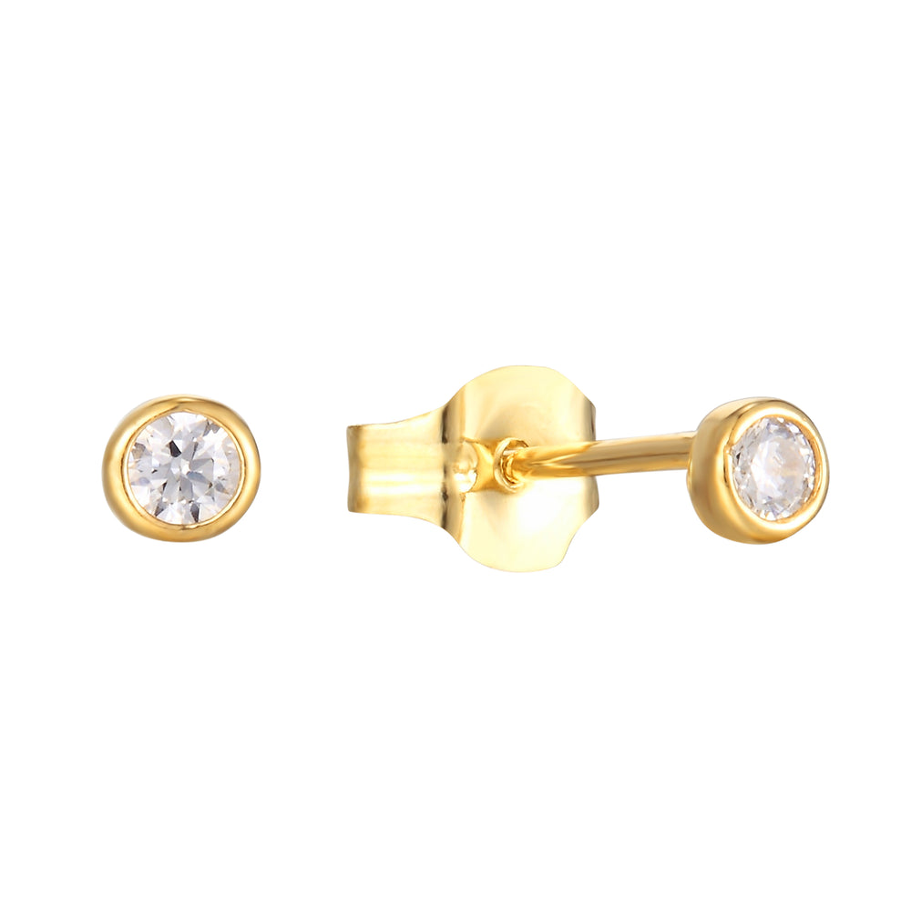 9ct Gold Tiny CZ Bezel Studs