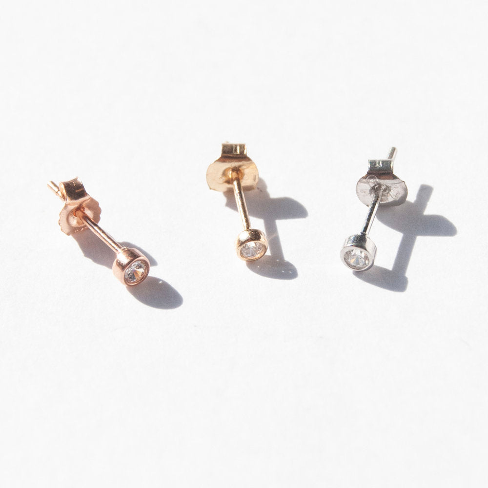 9ct Gold Tiny CZ Bezel Studs - seol-gold