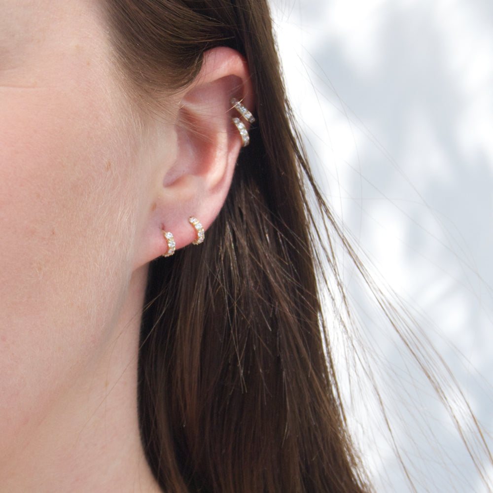 9ct Gold CZ Claw Half Hoop Studs - seol-gold