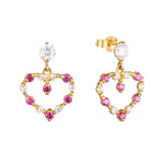 9ct Gold Ruby Heart Charm Studs