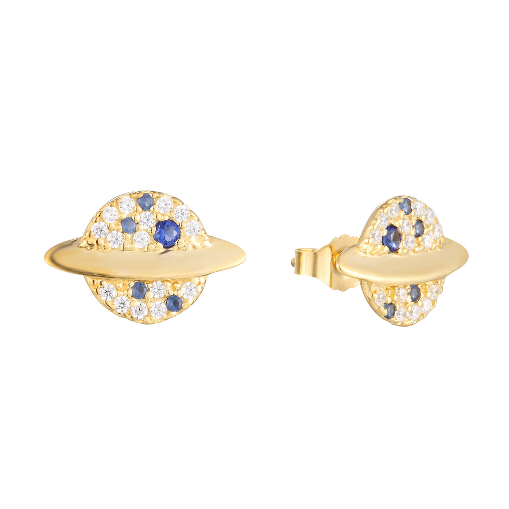 9ct Gold CZ and Sapphire Planet Studs