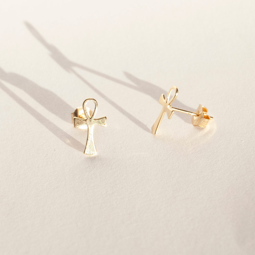 Gold Ankh Studs - seol-gold