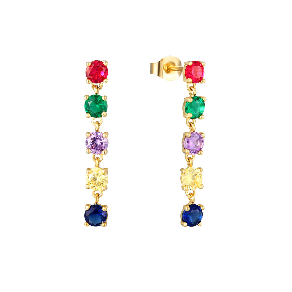 9ct Gold Rainbow CZ Drop Studs