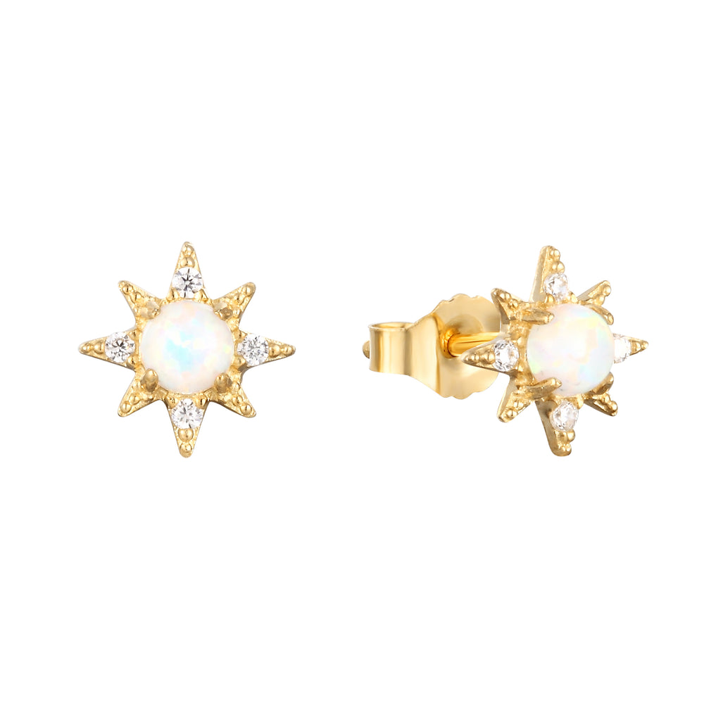 9ct Gold Opal Star Studs