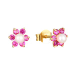 9ct Gold Ruby and Pearl Flower Studs