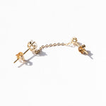 9ct gold cz star and chain studs - seol-gold