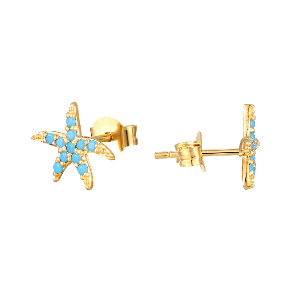 9ct gold turquoise studs - seol-gold