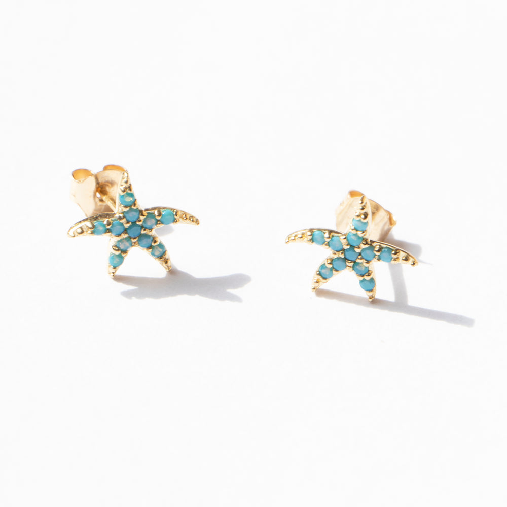 9ct gold turquoise stud earrings - seol-gold