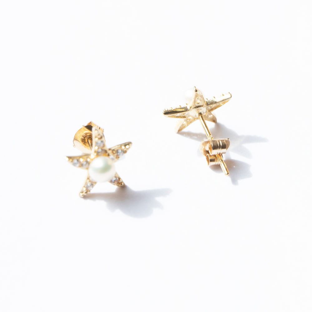 9ct gold starfish cz and pearl studs - seol-gold