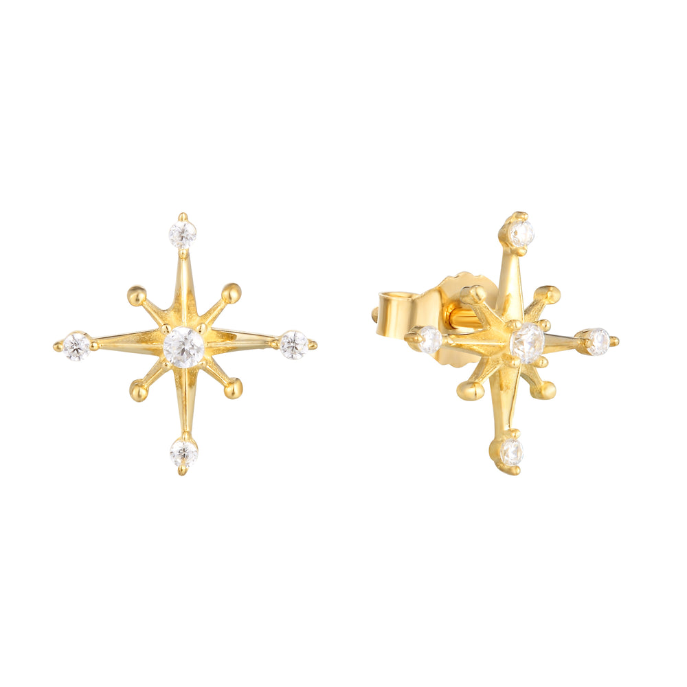 9ct Gold Compass Star Studs