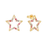 9ct Gold Rainbow Star Studs