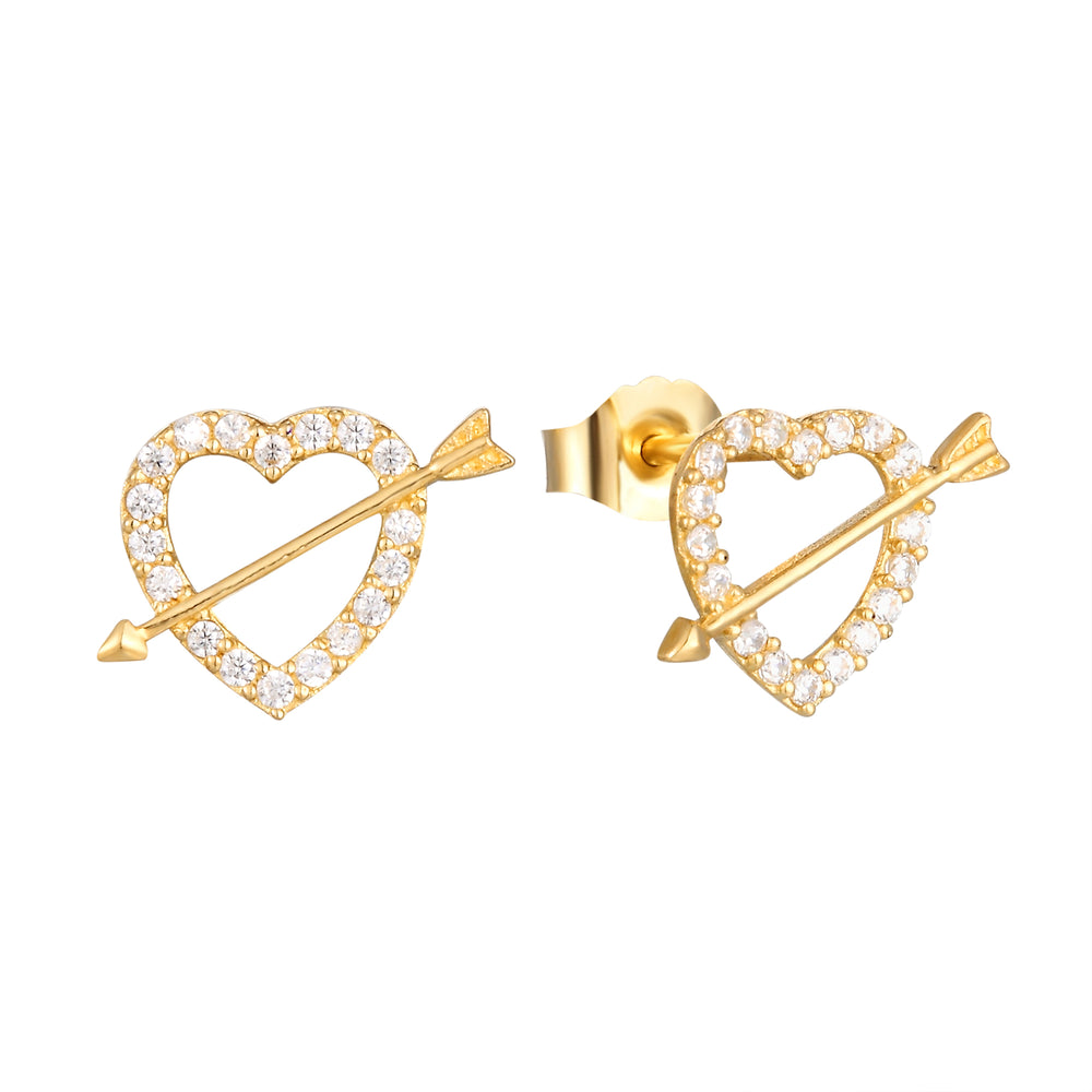heart and arrow studs - seol-gold