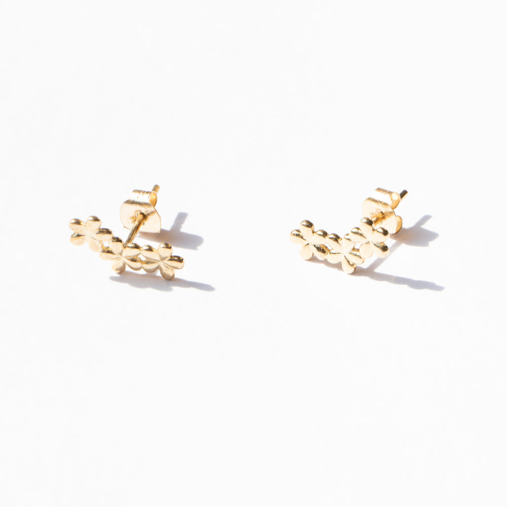 9ct gold flower climber studs - seol-gold