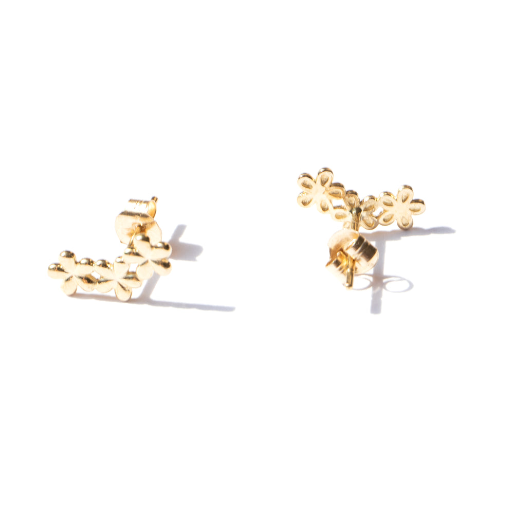 gold flower stud earrings - seol-gold