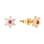 9ct Gold Ruby CZ Flower Studs