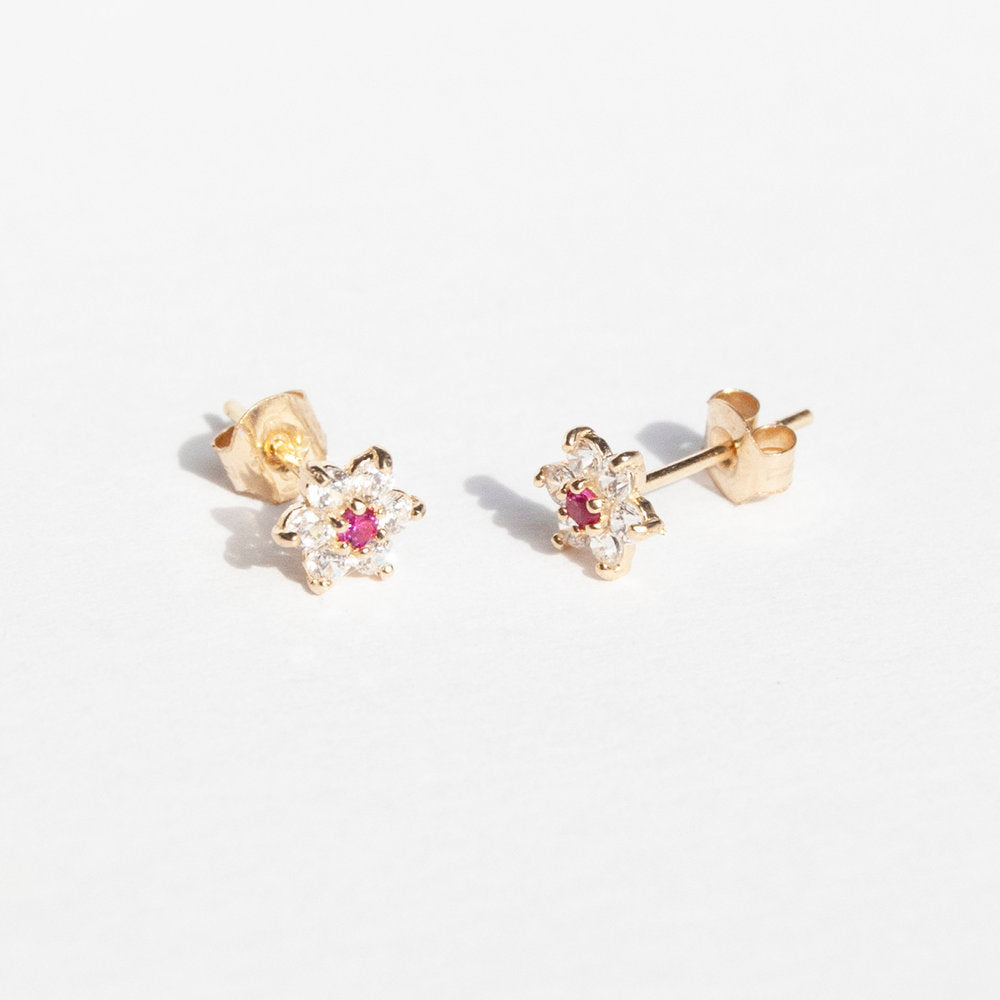 9ct Gold Ruby White CZ Flower Studs Earrings - seol-gold