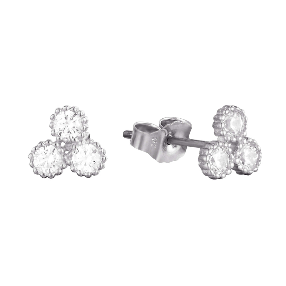 9ct white Gold CZ Stud Earrings - seol-gold