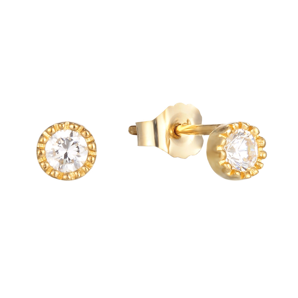 9ct Gold Scalloped Bezel Studs
