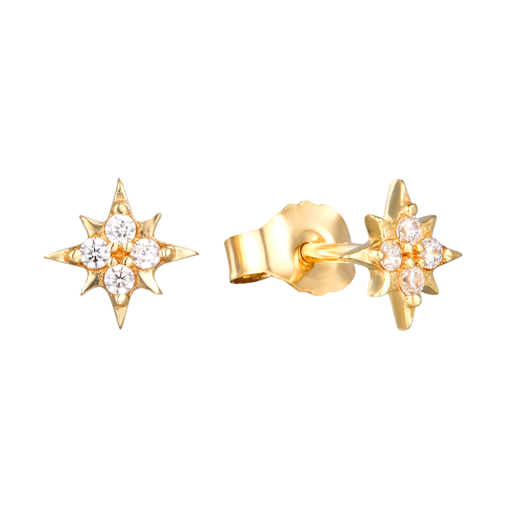 9ct Gold CZ Tiny North Star Studs