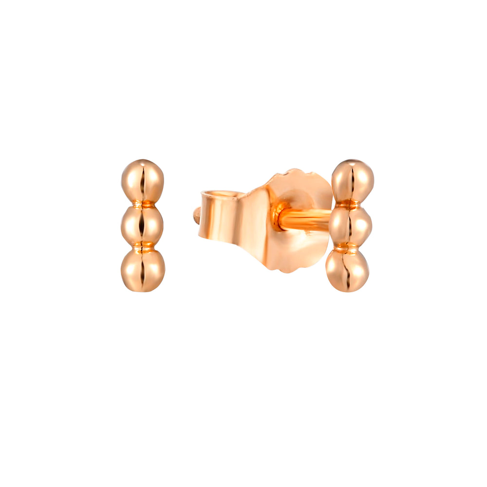 9ct Gold Dotted Bar Studs