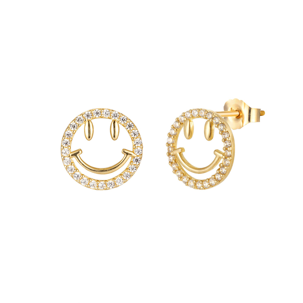 9ct Pave Smiley Studs