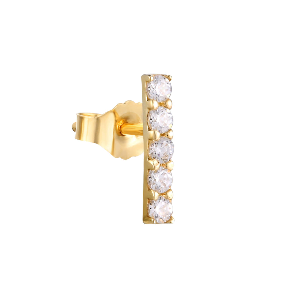 9ct Gold CZ Bar Studs