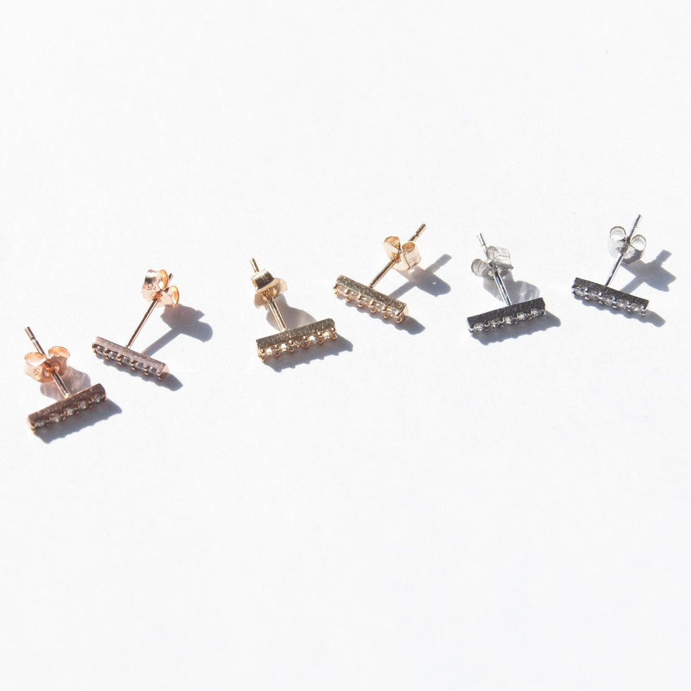 9ct Gold Tiny CZ Parallel Bar Studs - seol-gold