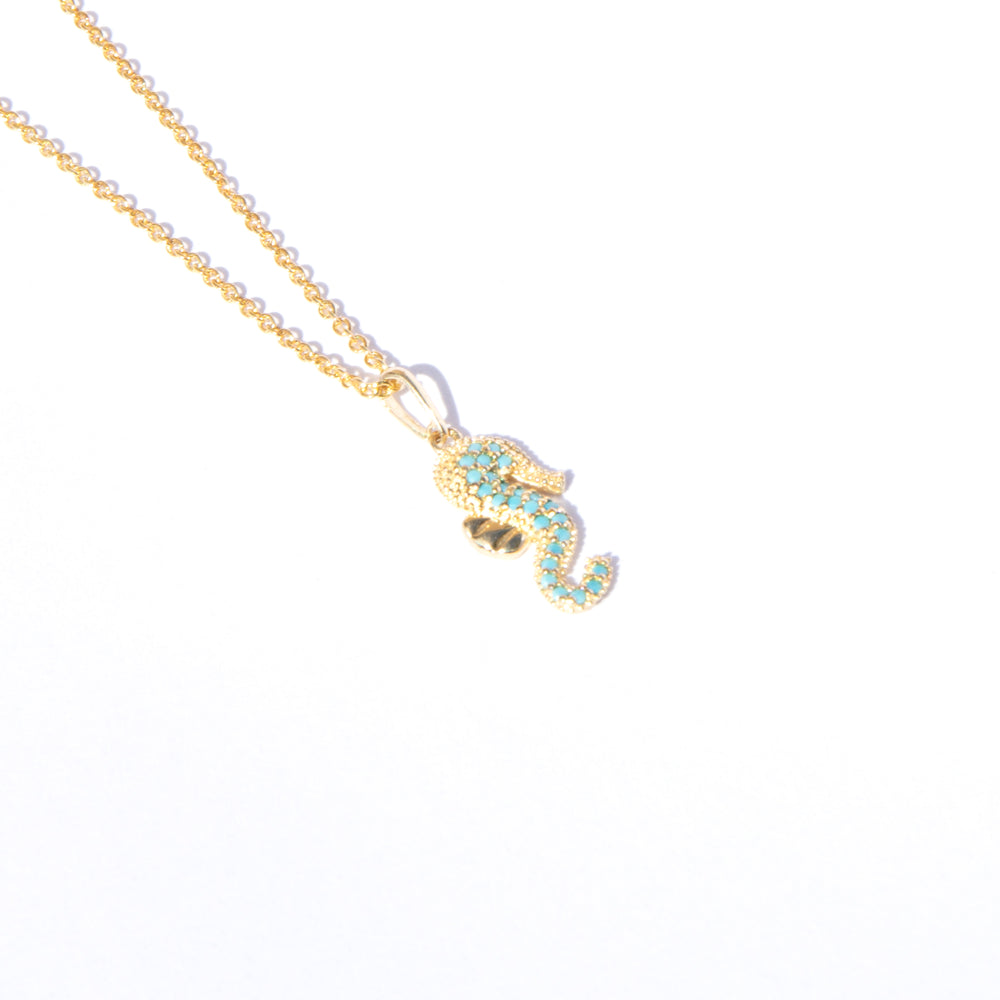 9ct gold turquoise seahorse pendant - seol-gold