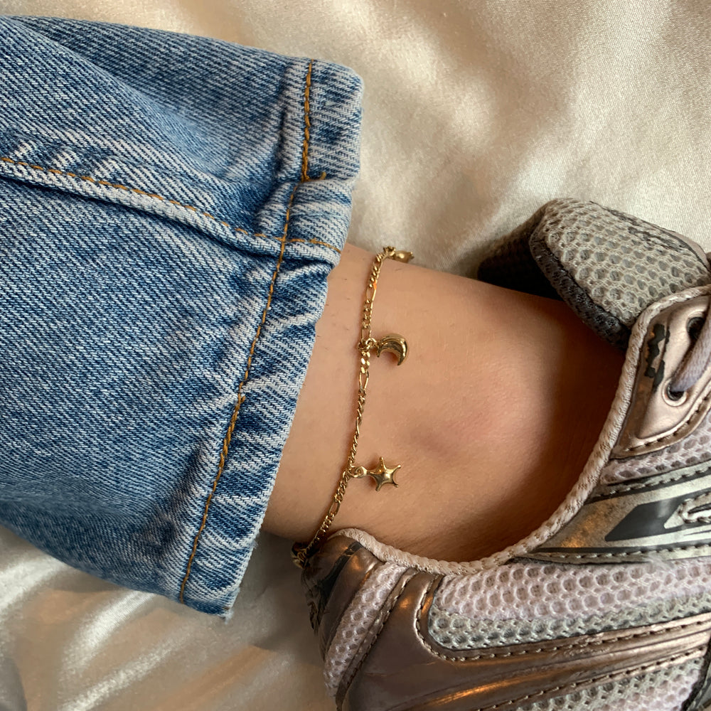 star moon anklet - seol gold