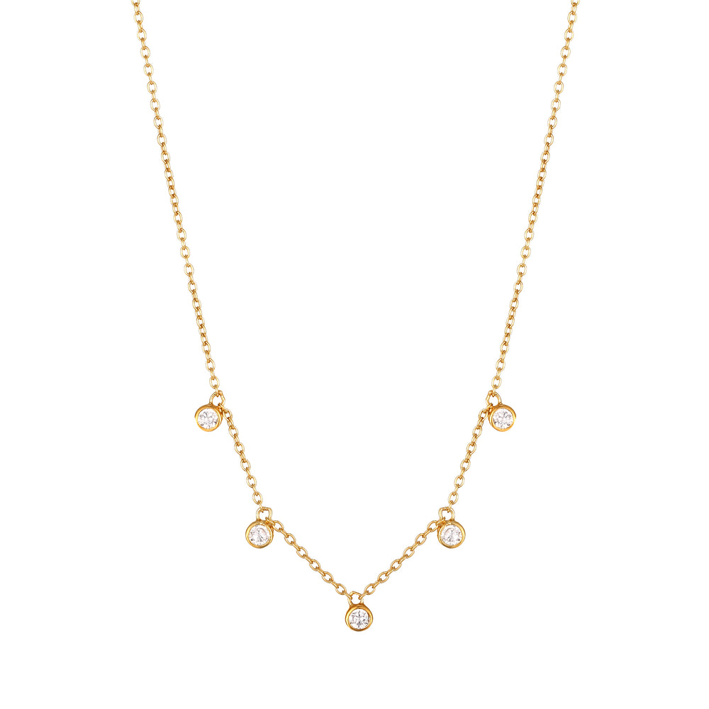Tiny Bezel CZ Drops Necklace