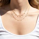 Double Bezel CZ Charm Drop Choker Necklace - seol-gold