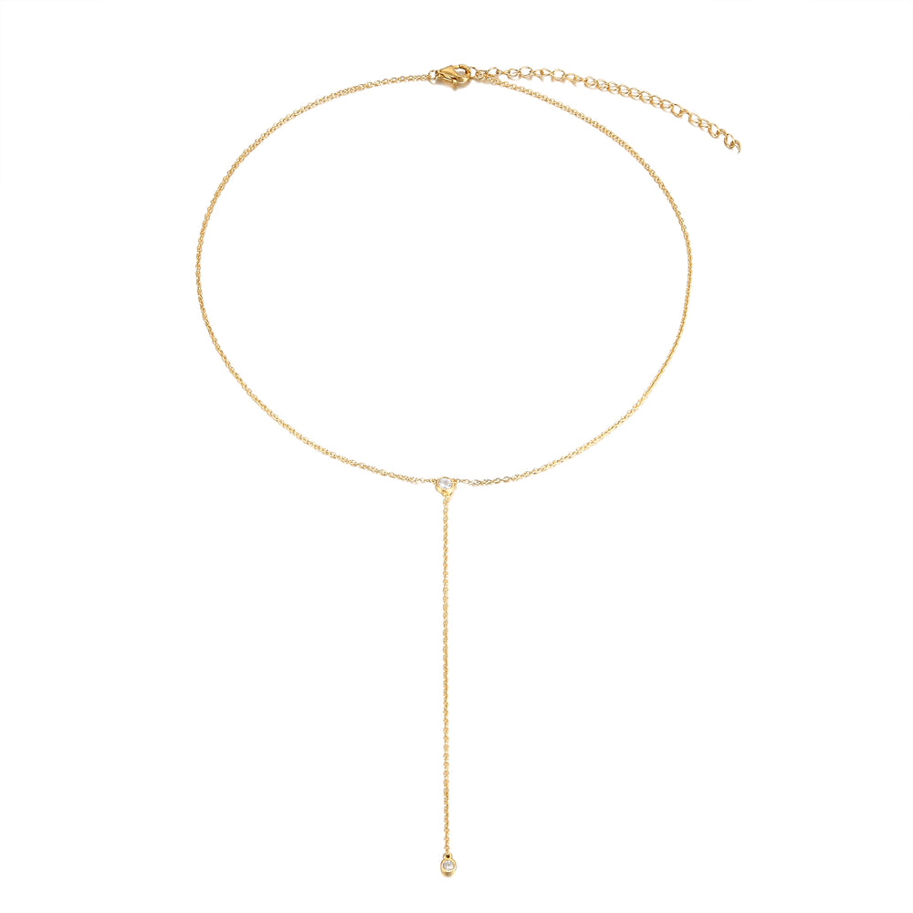 gold cubic zirconia necklace - seol-gold
