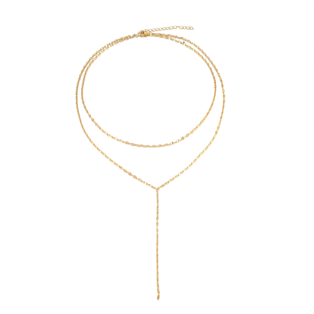 Two Layered Lariat Choker Necklace