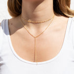 choker Lariat Necklace - seol-gold