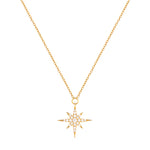 Pave CZ North Star Pendant Necklace