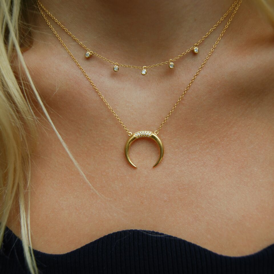 Tusk CZ Necklace - seol-gold