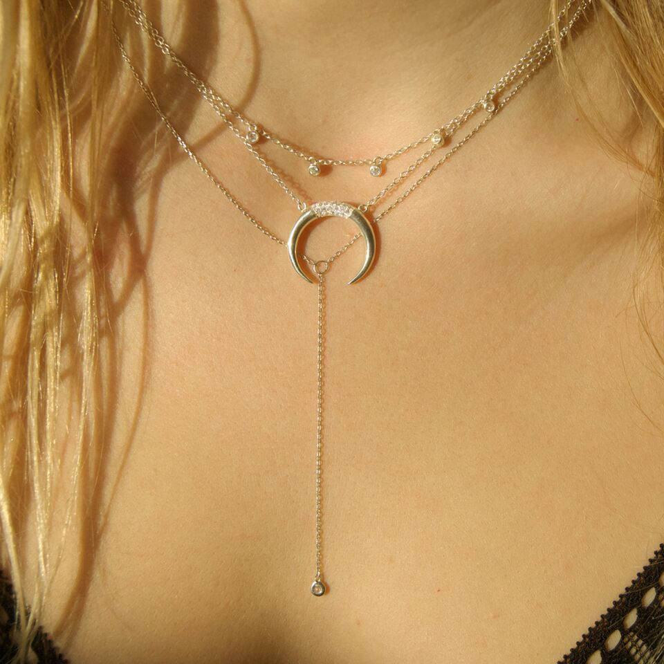 horn necklace - seol-gold
