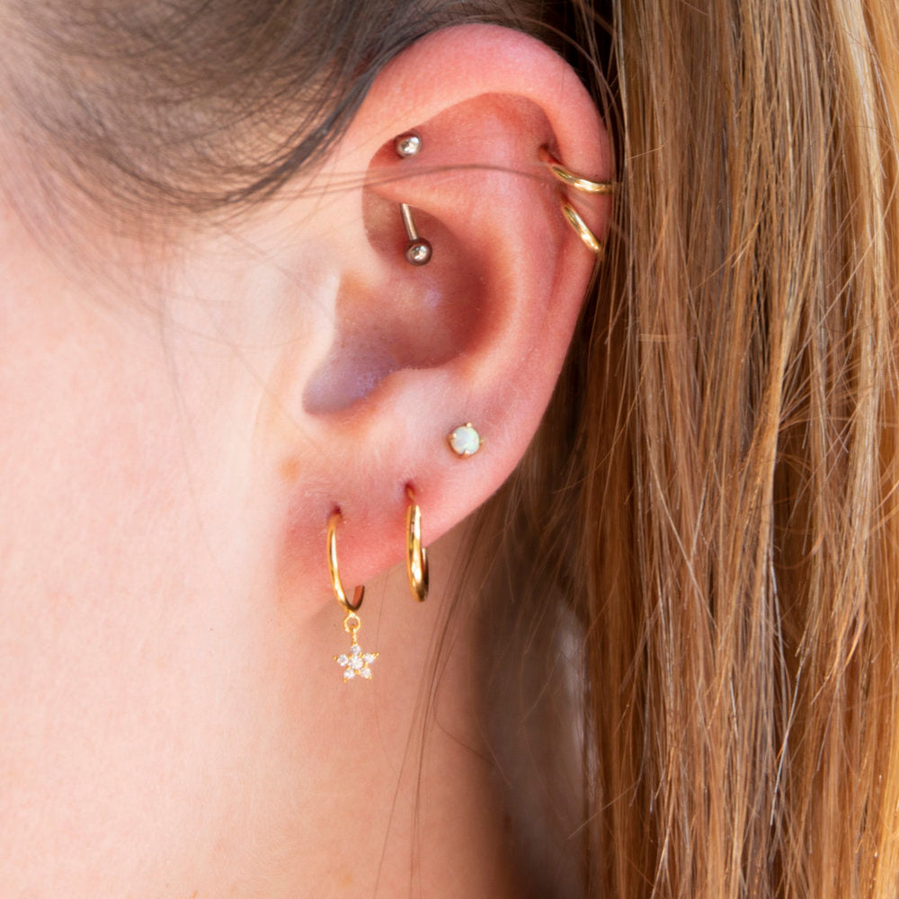 Star CZ Charm Half Hoop Stud Earrings