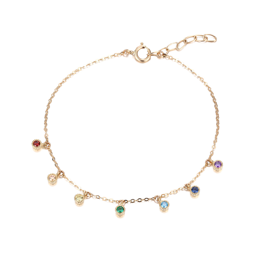 9ct Gold Rainbow CZ Bracelet