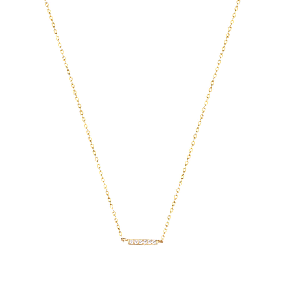 9ct Gold CZ Bar Necklace