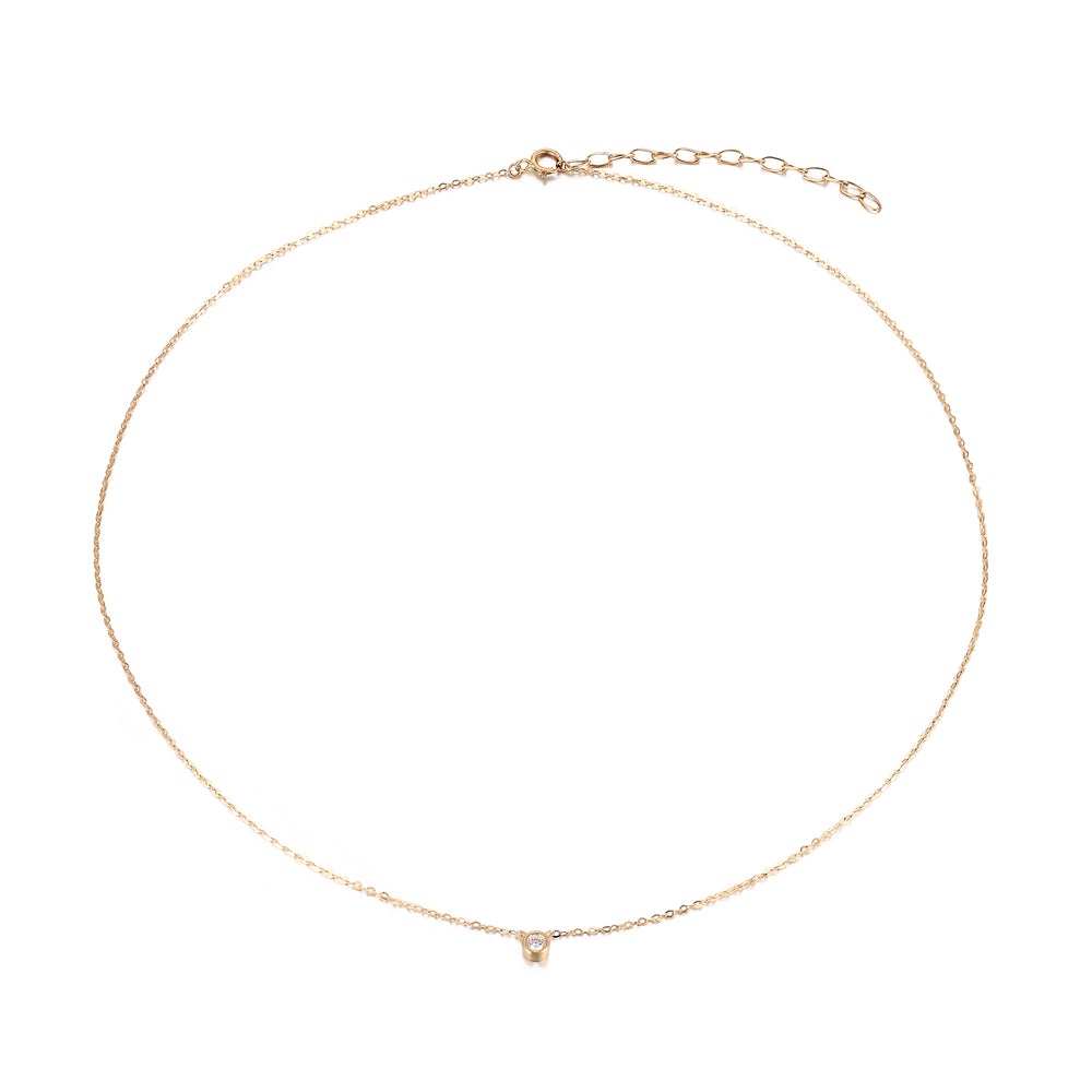 9ct Gold CZ Round Bezel Necklace - seol-gold